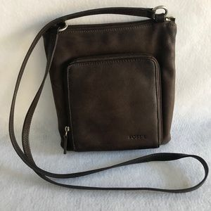 Fossil Brown Leather Small Crossbody
